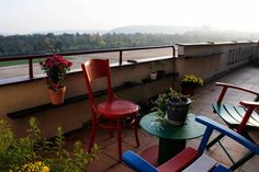 terrace with view of Letna park