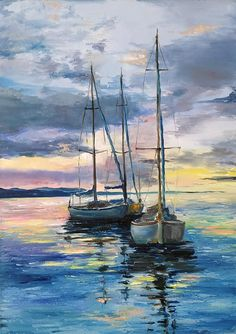Sailboat large oil painting, sailing boat at sunset, Seascape wall decor, original painting on stretched canvas Acrylic Painting Canvas, Watercolor Paintings, Canvas Art, Gold Canvas, Canvas Prints, Oil Paintings, Landscape Art, Landscape Paintings, Sailboat Painting