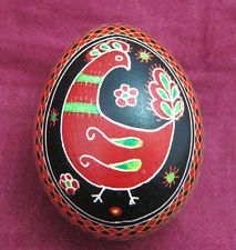 Decorative Hand Painted Blown Easter EGG / PYSANKA. Western Ukrainian culture