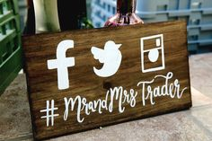 Rustic Wooden Wedding Hashtag Sign // Instagram by ThePaperWalrus