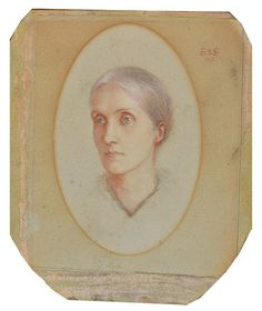 [1st cousin of Rachel's mother, Alice Prinsep] - PRE RAPHAELITE SCHOOL: Head and shoulders portrait of Julia Prinsep Stephen (nee Jackson, formerly Mrs Duckworth) (1846-1895), inscribed with monogram ? 'J.S. to J.S.' and dated '1893', pastels, 31 x 20cm oval Julia Princep Stephen, mother of Virginia Woolf and Vanessa Bell. She was a renowned beauty and favourite of the pre-Raphaelites.