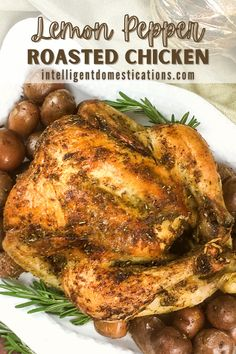 Oven Roasted Chicken seasoned with a Lemon Pepper butter you make from scracth using fresh herbs. This roasted chicken recipe includes seasoning small red potatoes and roasting them right along with the chicken. A delcious weeknight dinner idea or a nice Sunday dinner at home meal. #chickenrecipe #dinneridea Roast Chicken Seasoning, Roast Chicken Recipes, Pork Recipes, Lemon Roasted Chicken, Roasted Chicken And Potatoes, Recipes With Chicken And Peppers, Home Meals, One Dish Dinners, Lemon Pepper