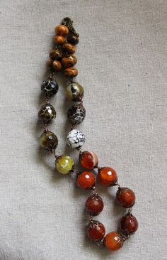 Red brown fall necklace short round choker chunky agate chrysocolla beads OOAK
