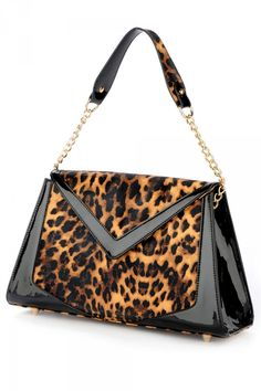 ae77f17a6031 Chevron Purse in Leopard Print Vinyl and Black Trim Chevron Purse