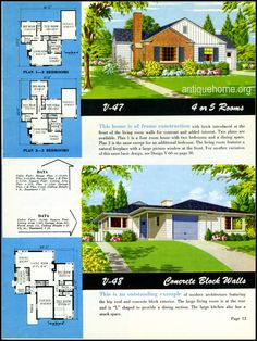 1949 Ranch Style Homes | From National Plan Service and AntiqueHome.org