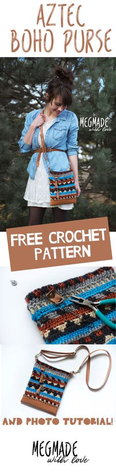 I'm just going to start out by saying I am super pumped about this pattern... I've had this thing inside my head ever since I designed my Aztec Slouchy (found here). I really wanted to create a cute crochet purse that also had leather (or in this case faux leather) details to it, and for it