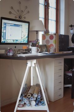 Making Ikea furniture work for you (part 2) - Pinterest inspired, personalised desk space. Trestle legs + table top of your choice!