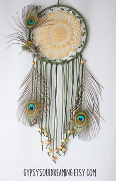 Green and Natural Dream Catcher with a Crochet Doily, Cruelty Free Peacock Feathers, Aventurine, Malachite, and Wood Beads
