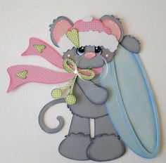 Snow on the Go Winter Mouse Paper Piecing PreMade 4 Borders Album Scrapbooks