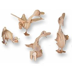 3-D Wooden Puzzle - Four Cartoon Ducks -Affordable Gift for your Little One! Item #DCHI-WPZ-M038
