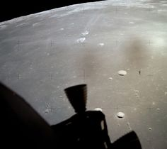 View from LM (Armstrong's window) of craters Messier & Messier A. (NASA)