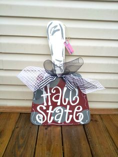 Mississippi State University Cowbell - MSU Hail State - Wooden Door Decor - $25 each. Purchase at www.etsy.com/shop/SouthernbyDesignCo or www.Facebook.com/SouthernbyDesign