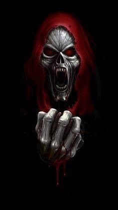 This is cool reminds me of middle school band Red Reaper Grim Reaper Art, Don't Fear The Reaper, Dark Fantasy Art, Dark Art, Dont Break My Heart, Totenkopf Tattoos, Reaper Tattoo, Skull Pictures, Skull Art