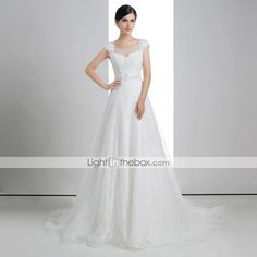 A-line Scoop Chapel Train Wedding Dress (Lace/Linen/Tulle)