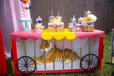 Carnival Birthday Party Tiger cage dessert table from a Backyard Carnival Birthday Party on Kara's Party Ideas Circus Carnival Party, Circus Theme Party, Carnival Birthday Parties, Birthday Party Themes, Carnival Ideas, Dumbo Birthday Party, Circus Party Decorations, Turtle Birthday, Turtle Party
