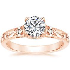 14K Rose Gold Flower Bud Ring