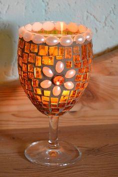 Windlichtpokal Cognacblume 140 mm hoch von Mosaikkasten  Dekoration für Haus und Garten