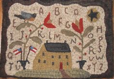 Primitive Patriotic Saltbox Bird hooked rug