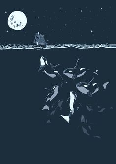Orca Whale art print in Indigo/teal - Curious night time Killer Whales with tiny. - Orca Whale art print in Indigo/teal – Curious night time Killer Whales with tiny boat. Whale Art, Art Prints, Animal Art, Night Scene, Nautical Posters, Illustration, Art, Animal Illustration, Whale Art Print