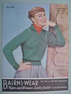 Super cute zip cardi Vintage Knitting Pattern 50s Womens Lumber by sewmuchfrippery, $12.00