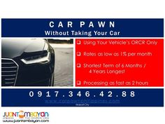 Collateral Car's ORCR for Your Cash Requirement Auto Service, Cars, Autos, Car, Automobile, Trucks