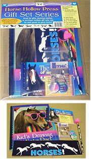 Gifts : Horse Hollow Press Gift Set Series This wonderful kit has it all! A kid's drawing and note pad, a magnet, two buttons, a bumper sticker, horsey pencil with heart shaped eraser and the book, The Horse of My Dreams. This kit makes a terrific party favor and stocking stuffer!