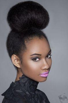 high bun hairstyles for black women | Now that's a high bun! http://www.latesthair.com/