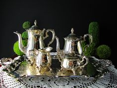 Vintage Silverplate Tea Set Coffee Tea Service by InventifDesigns