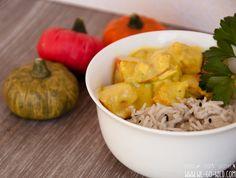 Kürbis Curry vegetarisch mit Kokosmilch Potato Salad, Shrimp, Potatoes, Meat, Ethnic Recipes, Food, Coconut Milk, Vegetarian Curry, Pumpkin Curry