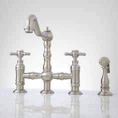 Delilah Deck Mount Bridge Faucet With Handspray   Cross Handles   Kitchen  Faucets   Kitchen