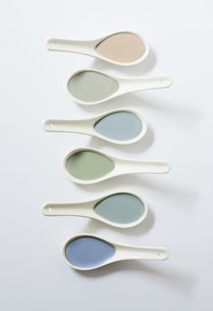 A taste of the new Artisan collection from Ecos Organic Paints. It includes, from top to bottom, Artistic Blue, Office Blue, Becky's Room, Paloma, Aces High and Ratty's Return