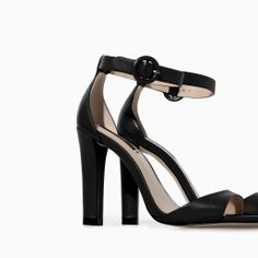 ZARA - WOMAN - LEATHER WIDE HEEL SANDAL