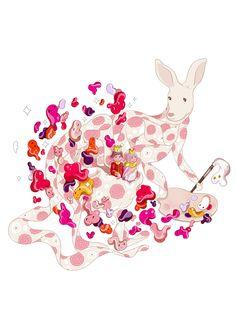 japanese illustrations - painting paper kangaloo