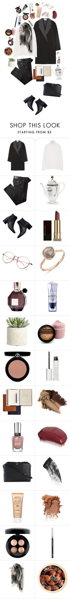 """""""Coat #8"""" by triomphevictorieuse ❤ liked on Polyvore featuring Alexander Wang, Equipment, BRAX, Zara, Kevyn Aucoin, Monica Vinader, Viktor & Rolf, Benefit, Allstate Floral and Giorgio Armani"""