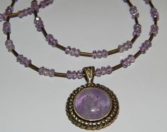 Long Natural Amethyst & Antique Brass Pendant & hand-made Amethyst bead Necklace in Jewellery & Watches, Handcrafted Jewellery, Sets | eBay