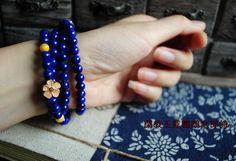 china blue - beads bracelet - 闲教玉笼鹦鹉念郎诗。帝王青金石108 蜜蜡老山檀纯银囍纹禅意手钏-淘宝网
