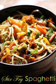 YUMMY TUMMY: Stir Fry Spaghetti Recipe / Pasta Stir Fry Recipe - Quick Pasta Recipes