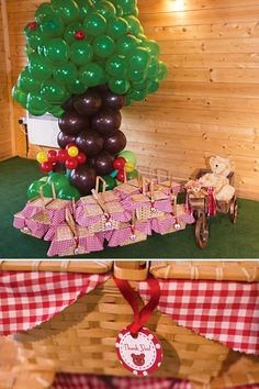 A Picnic Birthday Party with 'Beary sweet' garden & teddy bear desserts, Picnic style tablescape with grass placemats, blue sky balloon backdrop + Picnic basket party favors