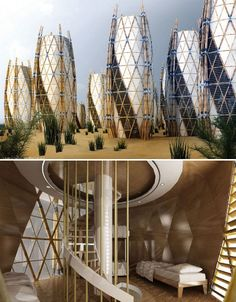 They may not resemble any houses you've ever seen, but these vertical bamboo structures could offer inexpensive housing in hard-hit places like Haiti. The design, by Saint Val Architect, marries low-tech and high-tech, using bamboo poles and x-shaped metal joints to form the 'exoskeleton' of each home. A circular staircase wrapping around the central support beam brings occupants to each successive floor, and canvas seals the home from the elements.