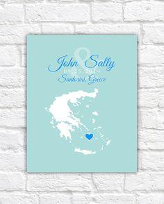 Custom Map Wedding, Engagement, Honeymoon Location  - Athens, Greece, Customized Gift, Personalized, Newlyweds, Honeymoon, Santorini