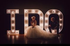 """Grab a wedding day photo with a charming lit-up """"I do"""" sign 