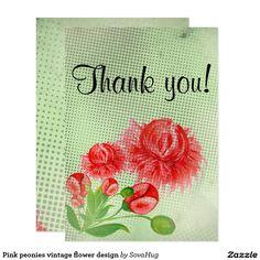 Pink peonies vintage flower design 13 cm x 18 cm invitation card