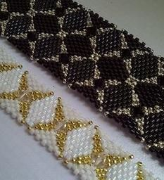Double Diamondback Bracelet pattern by Alice Coelho (Beadwork June/July 2013).  I made this for a friend that was leaving. She wanted a narrow neutral colored bracelet. I made this pattern with only 1 row of diamonds. She was happy and I loved it so much I made the double row version for myself.