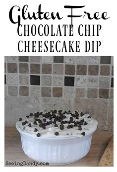 This gluten free chocolate chip cheesecake dip is so yummy and so easy to make!