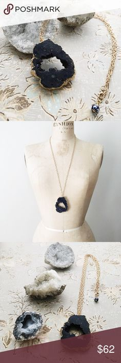 """indigo geode statement necklace (one of a kind) ...brand new listing 