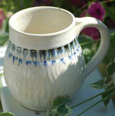 White Stoneware Pottery Mug - Coffee or Tea - Cobalt and Black Accents. $20.00, via Etsy.