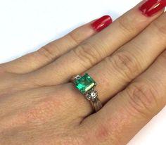 WOW! Brilliant 1.5 CT Colombian Emerald Diamond 14K White Gold Ring Size 6.75