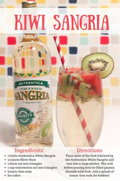 Kiwi Sangria is perfect for warm days. All you need is watermelon, kiwis, rum, Authentica White Sangria and lemon-lime soda and this heavenly drink is all yours! Sangria Drink, Sangria Cocktail, Summer Sangria, White Sangria, Cocktails, Drinks, Sangria Recipes, Cocktail Recipes, Cut Watermelon
