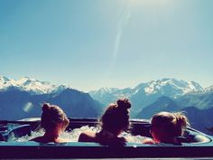This photo is awesome and reminds me of mountain hot tubs in Whistler.