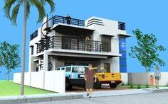 Modern 2 Storey w/ Roofdeck - House Designer and Builder Modern Small House Design, Simple House Design, House Front Design, Roof Design, Exterior Design, Deck Design, 2 Storey House Design, Modern Architects, Bedroom House Plans